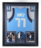 Luka Doncic Signed Mavericks 35x44 Custom Framed Jersey Display (CAS COA) (See Description) at PristineAuction.com