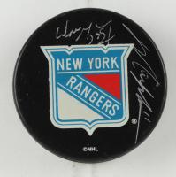 Wayne Gretzky & Mark Messier Signed Rangers Logo Hockey Puck (Steiner Hologram & UDA Hologram) at PristineAuction.com