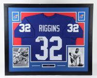 John Riggins Signed Kansas Jayhawks 35x43 Custom Framed Jersey Display (Beckett COA) at PristineAuction.com