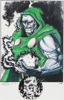 """Tom Hodges - Doctor Doom - Marvel Comics - Signed 11"""" x 17"""" Print LE #/10 with ORIGINAL Hand-Embellished 'Human Torch / Johnny Storm' Remarque (1/1) at PristineAuction.com"""