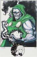 "Tom Hodges - Doctor Doom - Marvel Comics - Signed 11"" x 17"" Print LE #/10 with ORIGINAL Hand-Embellished 'Sue Storm' Remarque (1/1) at PristineAuction.com"