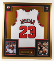 Michael Jordan 32x36 Custom Framed Jersey Display with Bulls #23 Jersey Pin (See Description) at PristineAuction.com