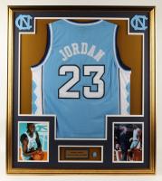 Michael Jordan 32x36 Custom Framed Jersey Display with Jordan North Carolina #23 Jersey Pin (See Description) at PristineAuction.com