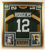 Aaron Rodgers 32x36 Custom Framed Jersey Display with Official Super Bowl XLV Champions Pin (See Description) at PristineAuction.com