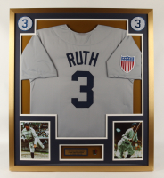 Babe Ruth 32x36 Custom Framed Jersey Display with 100th Anniversary Pin (See Description) at PristineAuction.com