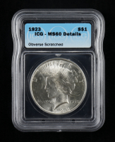 1923 $1 Peace Dollar Silver Coin (ICG MS60 Details) (Obverse Scratched) at PristineAuction.com