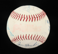 "MLB and Phillies Greats ""Phillies"" Logo Baseball Signed by (21) with Bob Feller, Andy Seminick, Joe Glenn, Al Brancato (Beckett LOA) at PristineAuction.com"