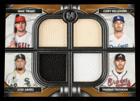 2021 Topps Museum Collection Primary Pieces Four Player Quad Relics #FPRTBAF Freddie Freeman / Mike Trout / Cody Bellinger / Jose Abreu #78/99 at PristineAuction.com