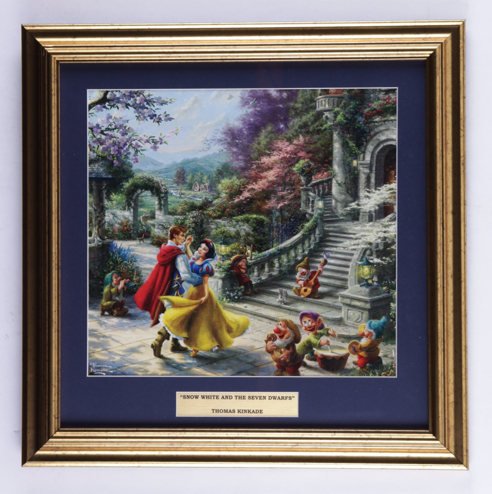 "Thomas Kinkade ""Snow White & The Seven Dwarfs"" 16x16 Custom Framed Print Display at PristineAuction.com"