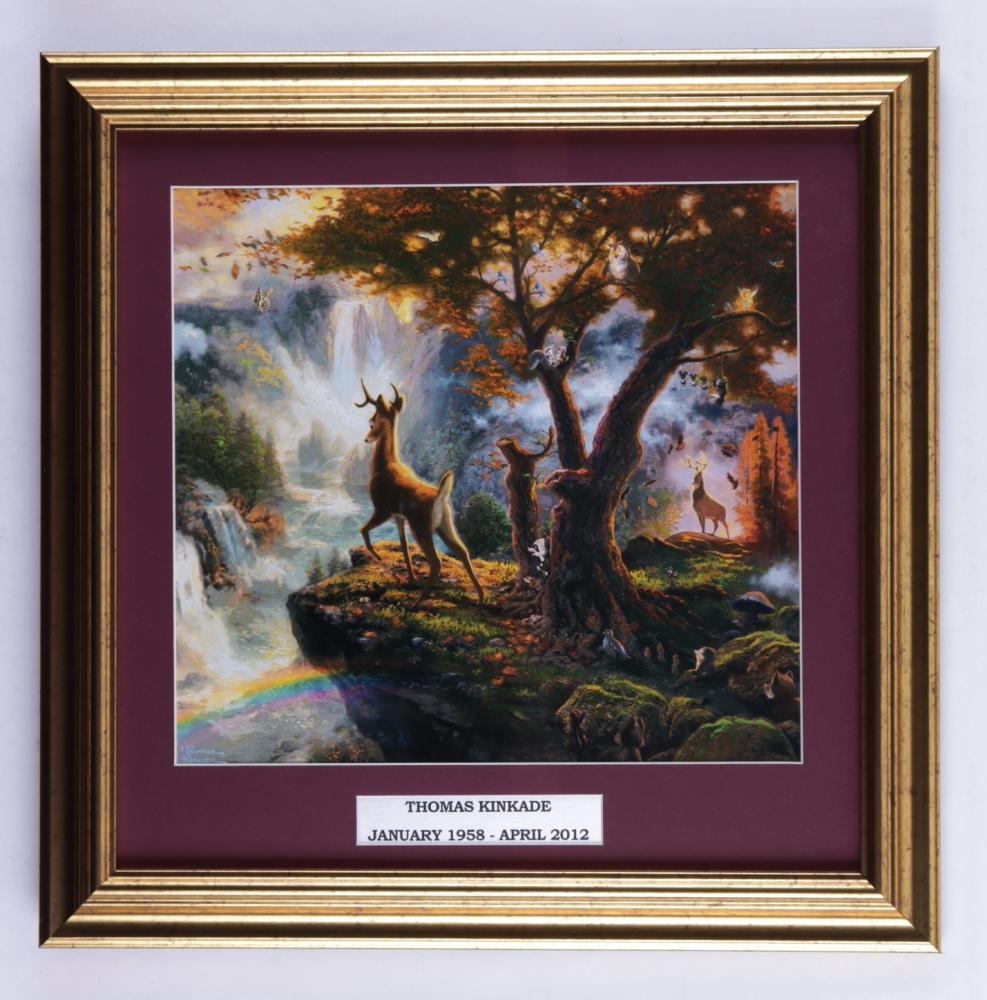 "Thomas Kinkade ""Bambi"" 16x16 Custom Framed Print Display at PristineAuction.com"