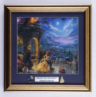 """Thomas Kinkade """"Beauty And The Beast"""" 16x16 Custom Framed Print Display with 2 Movie Pin at PristineAuction.com"""