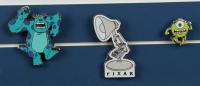 "Disney Pixar ""Monsters, Inc."" 15x23 Custom Framed Poster with Pixar Monster Inc. Set of Three Movie Pins at PristineAuction.com"