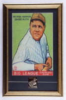 """Babe Ruth """"1933 Goudey Big League Chewing Gum"""" 15x24 Custom Framed Display with Metallic 23 KT Gold Baseball Card #53 at PristineAuction.com"""
