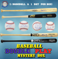Schwartz Sports Baseball DOUBLE PLAY Mystery Box - Series 4 (Limited to 100) (1 - Baseball & 1 - Full-Size Bat IN EVERY BOX!!!) at PristineAuction.com