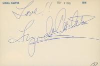 "Lynda Carter Signed 4x6 Index Card Inscribed ""Love!!"" (JSA COA) at PristineAuction.com"