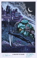 """Kevin Eastman Signed """"A Salute To Slash"""" 11x17 Photo with Hand-Drawn Sketch (Beckett COA) (See Description) at PristineAuction.com"""