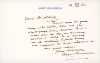 Alec Guinness Signed 3.5x5.5 Note Card (JSA LOA) at PristineAuction.com