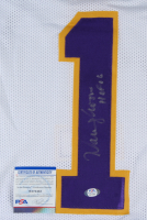 "Warren Moon Signed Jersey Inscribed ""HOF 06"" (PSA COA) (See Description) at PristineAuction.com"
