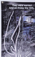 """""""Friday the 13th"""" 36x48 Vinyl Banner Franchise Cast-Signed by (58) Kane Hodder, Betsy Palmer. Adrienne King, Ari Lehman, Ted White, Derek Mears with Multiple Inscriptions (Beckett LOA) (See Description) at PristineAuction.com"""