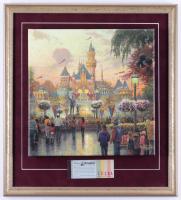 Thomas Kinkade Walt Disney 20x22 Custom Mounted Canvas Display with Vintage Ticket Book at PristineAuction.com