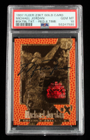 Michael Jordan 1997 Fleer Basketball Texture Red 6 Time Champions 23KT Gold Card #3031/4523 (PSA 10) at PristineAuction.com
