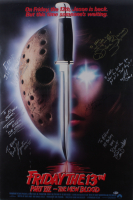 """""""Friday the 13th Part VII - The New Blood"""" 27x40 Movie Poster Signed by (8) Kane Hodder, Lar Park-Lincoln, Kevin Spirtas, John Carl Buechler, Terry Kiser, William Butler with Multiple Inscriptions (Beckett LOA) (See Description) at PristineAuction.com"""