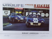 """Carroll Shelby & Jack Sears Signed """"Shelby American Collection"""" 18x24 Poster (Beckett LOA) at PristineAuction.com"""