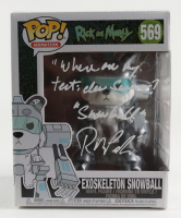 """Rob Paulsen Signed """"Rick & Morty"""" Exoskeleton Snowball #569 Funko Pop! Vinyl Figure Inscribed """"Where Are My Testicles, Summer?"""" & """"Snowball"""" (JSA Hologram) (See Description) at PristineAuction.com"""