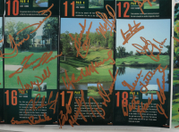 """""""The Home Depot Invitational"""" 2001 Course Map 20x27 Signed By (65) with Arnold Palmer, Charles Coody, Walt Morgan, Tom Shaw, Gene Littler, Leonard Thompson (Beckett LOA) (See Description) at PristineAuction.com"""