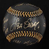Steve Garvey Signed OML Black Leather Baseball With (6) Career Stats Inscriptions (Beckett COA) at PristineAuction.com