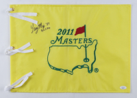 """Larry Mize Signed 2011 Masters Tournament Pin Flag Inscribed """"87"""" (JSA COA) at PristineAuction.com"""