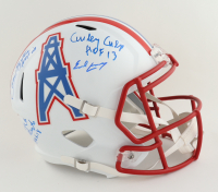 Oilers Full-Size Speed Helmet Team-Signed by (4) with Robert Brazile, Elvin Bethea, Curley Culp, & Earl Campbell with (3) HOF Inscriptions (JSA COA & Beckett Hologram) (See Description) at PristineAuction.com