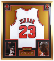 Michael Jordan 32x36 Custom Framed Jersey Display with (4) NBA Champions Pins at PristineAuction.com