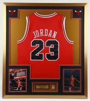 Michael Jordan 32x36 Custom Framed Jersey Display with NBA HOF Pin at PristineAuction.com