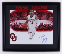 Trae Young Signed 23x27 Custom Framed Photo Display (JSA COA) at PristineAuction.com