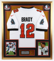 Tom Brady 32x36 Custom Framed Jersey Display with Buccaneers Pin at PristineAuction.com