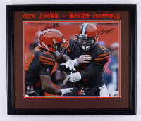 Nick Chubb & Baker Mayfield Signed 23x27 Custom Framed Photo Display (JSA COA) at PristineAuction.com