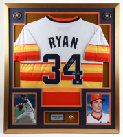 """Nolan Ryan Signed 32x36 Custom Framed Jersey Display Inscribed """"7 No-Hitters"""" with Jersey Retirement Pin (PSA COA) at PristineAuction.com"""