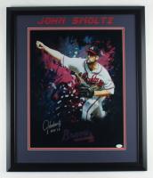 """John Smoltz Signed Braves 22.5x26.5 Framed Photo Inscribed """"HOF 15"""" (JSA COA) (See Description) at PristineAuction.com"""