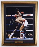 Sugar Ray Leonard & Roberto Duran Signed 21x26 Custom Framed Photo Display (PSA COA) (See Description) at PristineAuction.com
