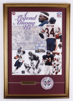 Walter Payton Signed Bears 21x30 Custom Framed Photo Display With Original Super Bowl XX Patch (PSA LOA) at PristineAuction.com