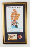 "Disneyland ""Fantasyland: it's a small world"" 16x27 Custom Framed Print Display with 1960s Vari-Vue 'I Like Disneyland' Blinker Pin & Photo Portfolio (See Description) at PristineAuction.com"