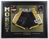 "Floyd ""Money"" Mayweather Jr. Signed 35x43 Custom Framed Boxing Trunks Display (JSA COA) at PristineAuction.com"
