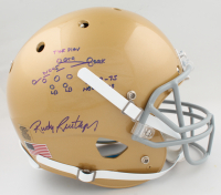 """Rudy Ruettiger Signed Notre Dame Fighting Irish Full Size Helmet Inscribed """"The Play"""" with Hand-Drawn Play (Ruettiger Hologram) at PristineAuction.com"""