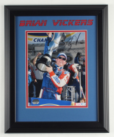 Brian Vickers Signed NASCAR 14x17 Custom Framed Photo Display (Mounted Memories Hologram) at PristineAuction.com