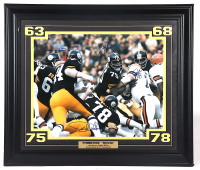 """Steelers """"The Steel Curtain"""" 24x28 Custom Framed Photo Display signed by (4) """"Mean"""" Joe Greene, L.C. Greenwood, Dwight White & Ernie Holmes (Beckett LOA) (See Description) at PristineAuction.com"""