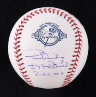 """Ron Guidry Signed LE Yankees 100th Anniversary Logo OML Baseball Inscribed """"#49 Retired 8-23-03"""" (Beckett COA) at PristineAuction.com"""