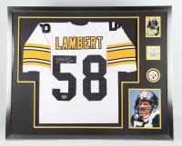 "Jack Lambert Signed 35x43 Custom Framed Jersey Display Inscribed ""HOF 90"" (Beckett LOA) at PristineAuction.com"