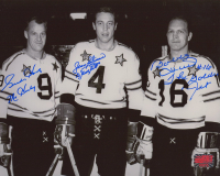 Gordie Howe, Jean Beliveau & Bobby Hull Signed NHL All-Star Game 8x10 Photo with Multiple Inscriptions (YSMS COA) at PristineAuction.com