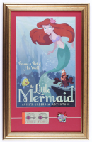"""Disney World """"The Little Mermaid"""" 15.5x25 Custom Framed Display with Vintage Ticket Book & Ride Pin at PristineAuction.com"""
